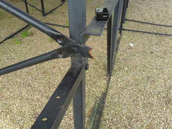 Outdoor Bleacher Damaged Supports